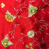 Bold Floral Embroidered Cotton - Red - Fabrics & Fabrics NY