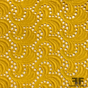 Italian Embroidered Cotton Eyelet - Yellow