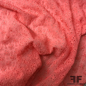 Floral Embroidered Silk Georgette - Salmon