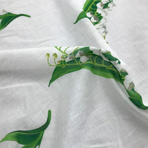 Italian Floral Cotton Voile - White, Green