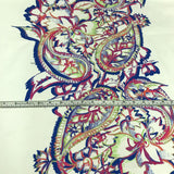 Paisley / Floral Cotton Panel - White/ Multicolor