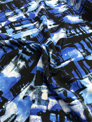 Abstract Painterly Cotton and Silk Broadcloth - Blue/ Black