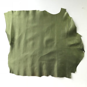 Olive Green with Shine Leather Hide - Fabrics & Fabrics