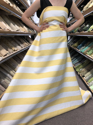 Striped Cotton Brocade - Yellow/White