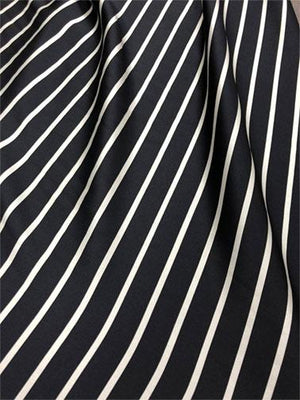 Striped Heavy Weight Double-Face Silk Charmeuse − Black/White