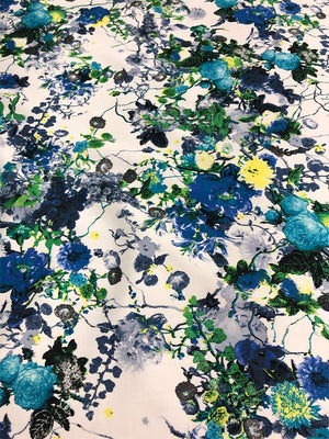 Floral Stretch Cotton - Blue/White/Green
