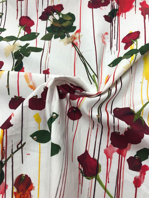 Italian 'Erotico' Floral Drip Printed Cotton - White/Red