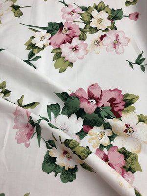 Floral Bouquet Stretch Cotton Sateen - White, Green, Pink