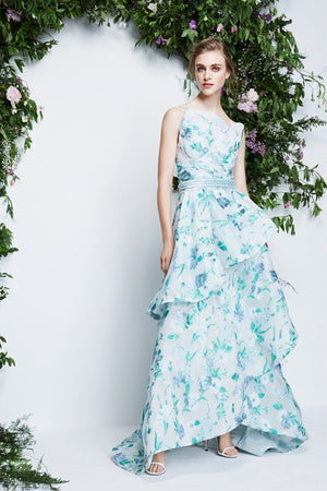 Pamella Roland Floral Organza Burnout with Lurex - White / Green / Light Blue