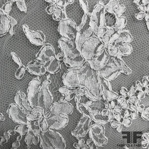 French Classic Floral Chantilly Lace with Silver Accent - White