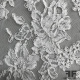 French Classic Floral Chantilly Lace with Silver Accent - White - Fabrics & Fabrics