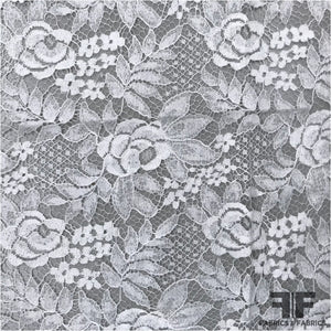 French Rose Floral Chantilly Lace - Silk White