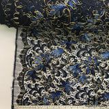 Textured Floral Embroidered Lace - Navy/Gold
