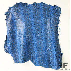 Snake Printed Finished Sueded Leather - Blue/Black - Fabrics & Fabrics