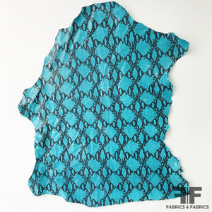 Snake Printed Finished Sueded Leather - Teal/Black - Fabrics & Fabrics