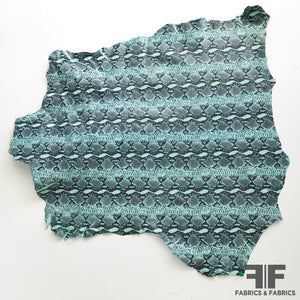 Snake Print Finished Sueded Leather - Seafoam/Black - Fabrics & Fabrics