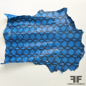 Snake Print Finished Sueded Leather - Bright Blue/Black - Fabrics & Fabrics