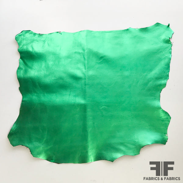 Metallic Green Leather - Fabrics & Fabrics