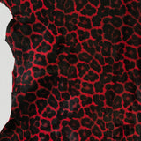 Leopard Print Hair-on Calf Skin - Red/Black - Fabrics & Fabrics