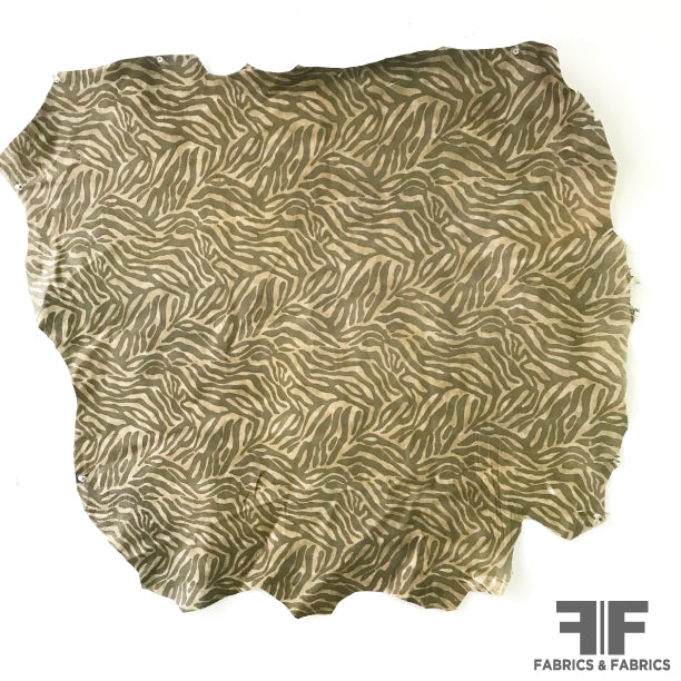 Zebra Print Leather on Sueded Side - Beige/Taupe - Fabrics & Fabrics