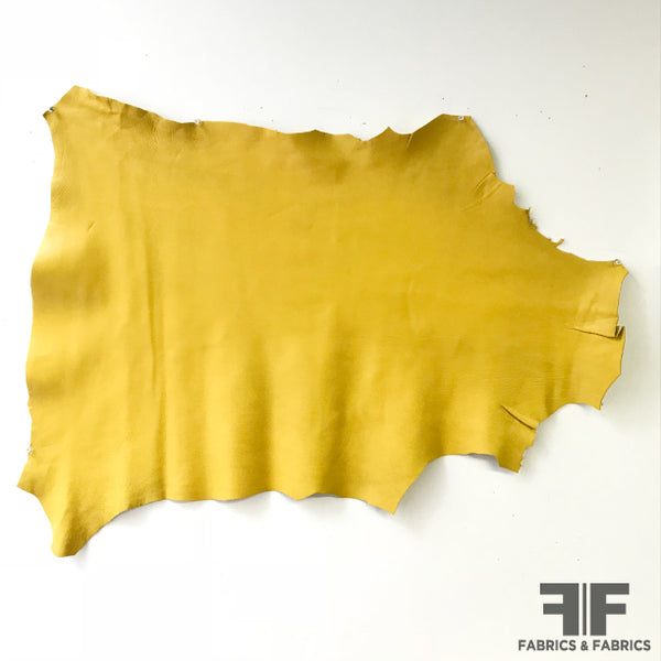 Solid Bright Yellow Leather - Fabrics & Fabrics