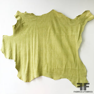 Rough Textured Leather - Yellow/Green - Fabrics & Fabrics