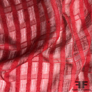 Checkered Semi Sheer Linen - Red - Fabrics & Fabrics NY