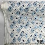 Italian Geometric Embroidered Linen - White/Blue