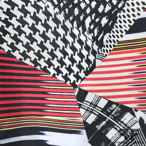 Abstract Patterned Linen - Red/Black/Yellow