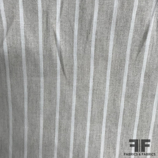 Classic Striped Linen - Grey/White - Fabrics & Fabrics NY