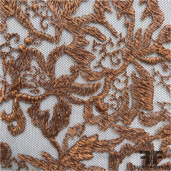 Floral Embroidered Netting - Copper/Black