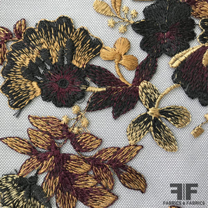 Blooming Floral Embroidered Netting - Purple/Black/Gold - Fabrics & Fabrics NY