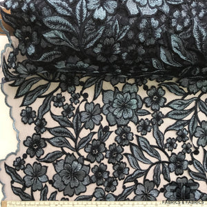 Blooming Metallic Floral Netting - Blue - Fabrics & Fabrics NY