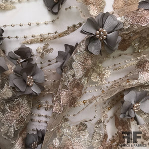 3D Floral Embroidered/Beaded Netting - Taupe/Grey
