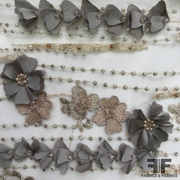 3D Floral Embroidered/Beaded Netting - Taupe/Grey - Fabrics & Fabrics NY