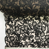 Floral Embroidered Netting - Black/Beige