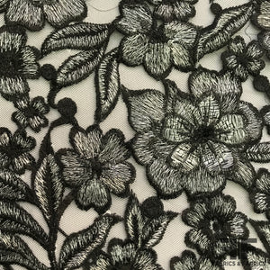 Blooming Floral Embroidered Netting - Black/Silver - Fabrics & Fabrics NY
