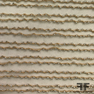 Striped Beaded Netting - Nude