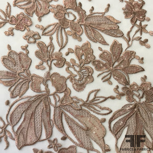 Floral Embroidered Netting - Beige