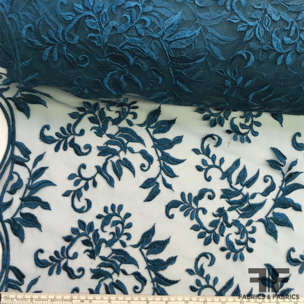 Wispy Floral Embroidered Netting - Teal