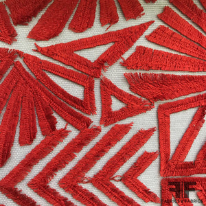 Geometric Embroidered Netting - Red