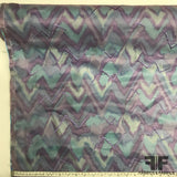 Embroidered Zig Zag Novelty Silk - Blue/Purple - Fabrics & Fabrics NY