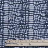 Abstract Checkered Print Novelty - Navy/White - Fabrics & Fabrics NY