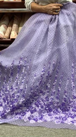 Textured Border Pattern Floral Novelty Organza Panel - Lavender / Purple
