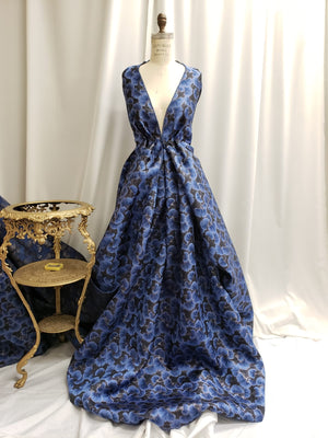 Metallic Floral Brocade - Blue/Black
