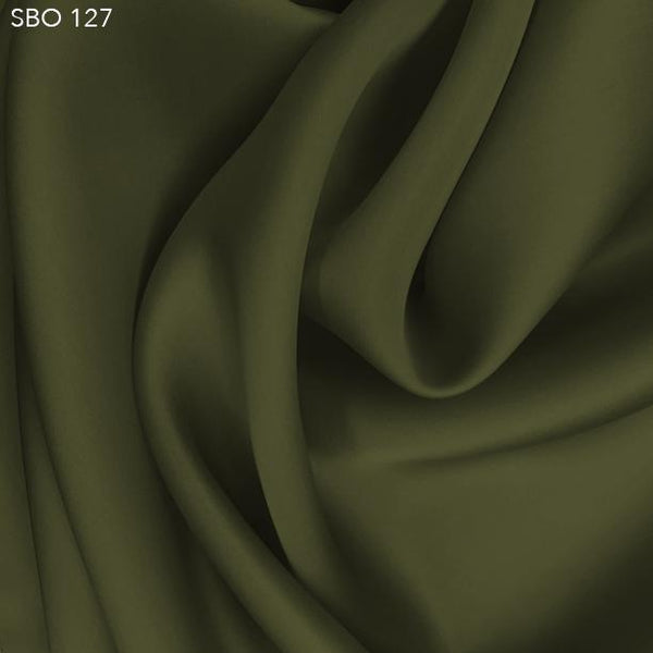 Khaki Green Satin Faced Organza - Fabrics & Fabrics