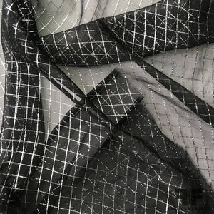 Windowpane Metallic Silk Chiffon - Black/Silver