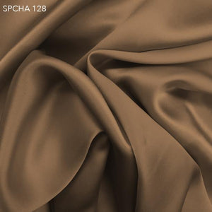 Chocolate Powder Brown Silk Charmeuse  - Fabrics & Fabrics