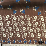 Tropical Floral Printed Silk Charmeuse - Brown