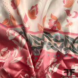 Floral Printed Silk Charmeuse on Matte Side - Multicolor